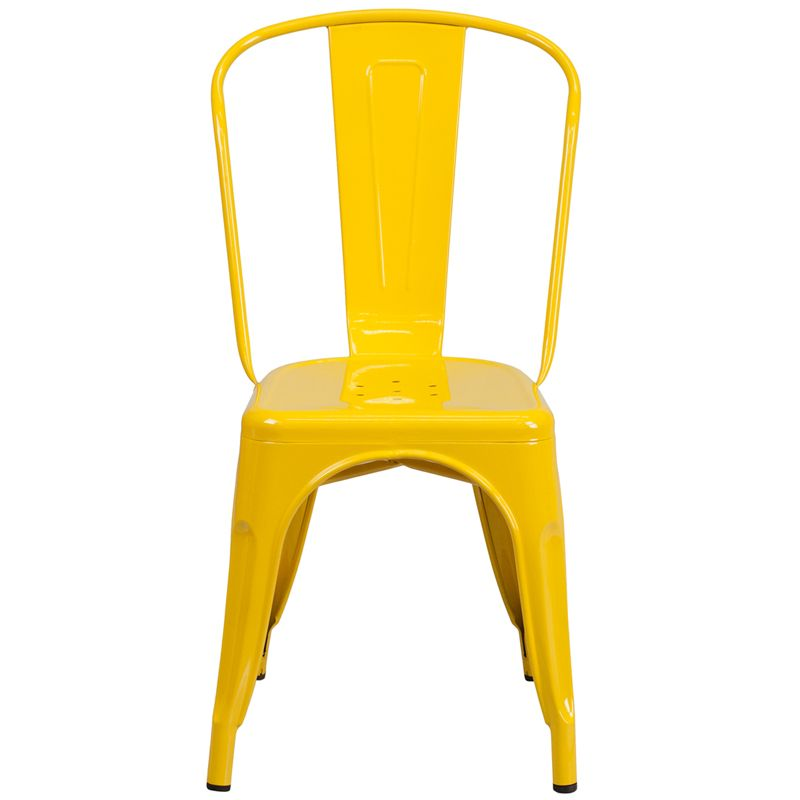 Yellow Metal Indoor-Outdoor Stackable Chair, CH-31230-YL-GG by Flash Furniture | BizChair.com