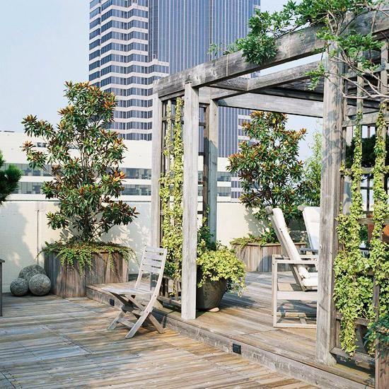 gestaltungsideen dachterrasse laube holz | Balkon | Pinterest ...