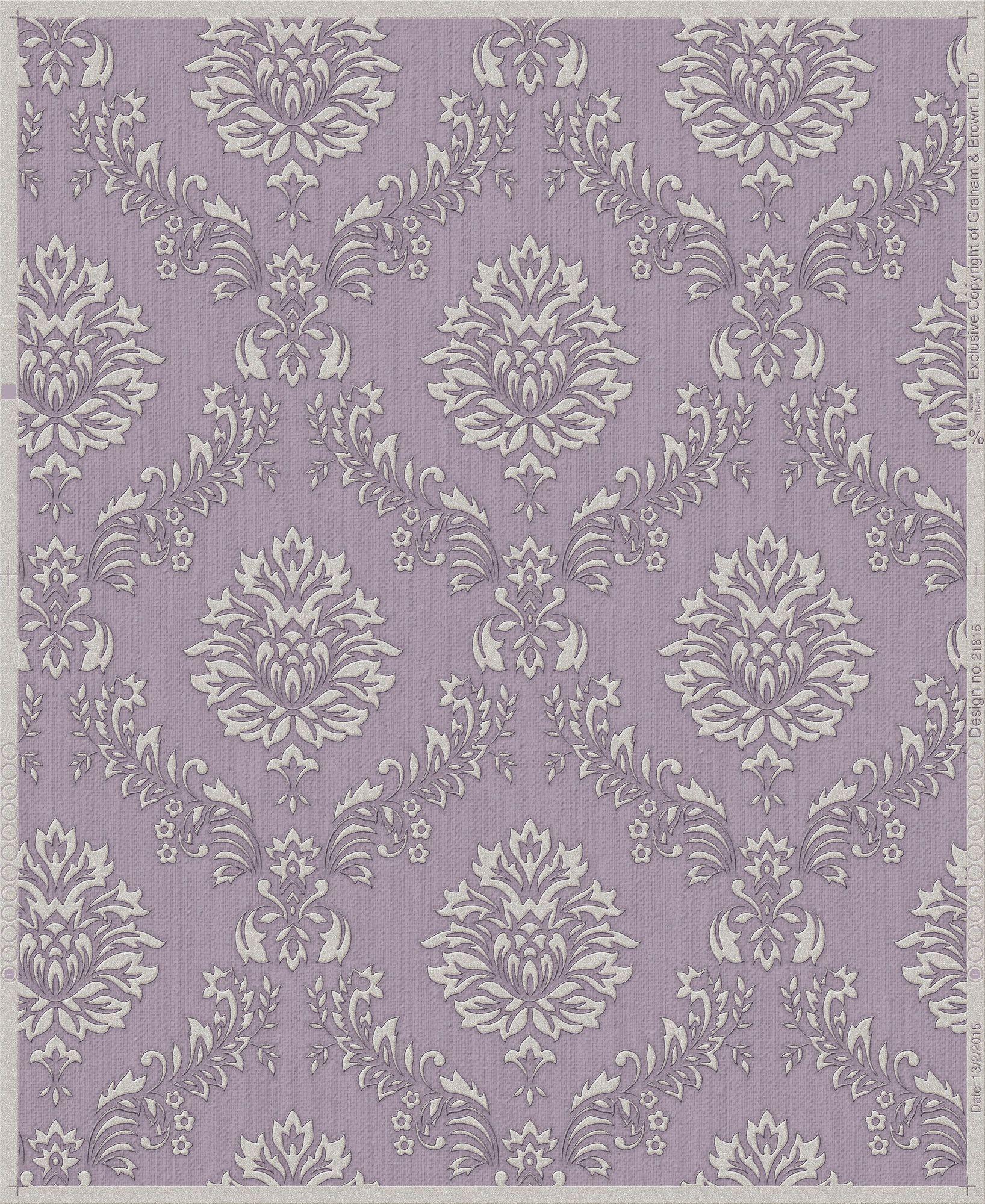 "Oxford Jacquard 33' x 20"" Damask Wallpaper Purple"