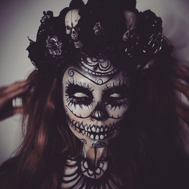 scary sugar skull makeup dia de los muertos pinterest. Black Bedroom Furniture Sets. Home Design Ideas