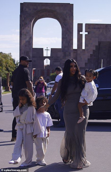 Kim Kardashian Steps Out In Armenia For Her Children S Baptism Kim Kardashian Kardashian Kanye West Kids