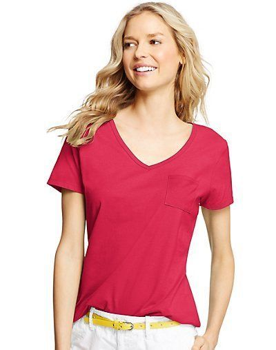 ecb8b525 Color® Women's Short-Sleeve Solid V-Neck Pocket Tee style 9167 #Hanes # BasicTee