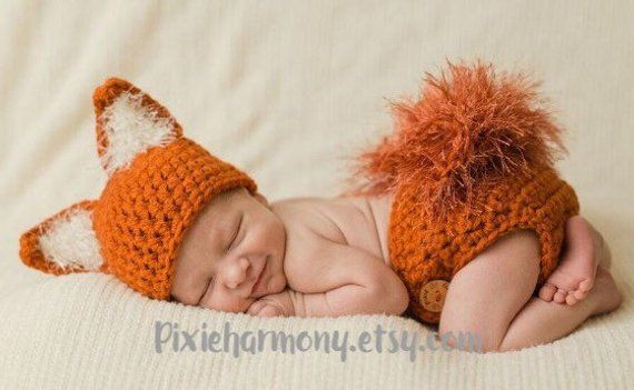 Photo of Newborn PHOTO Prop – FOX Hat and Diaper Cover- Baby – Boy – Girl – MADE to Order- Orange – Rust