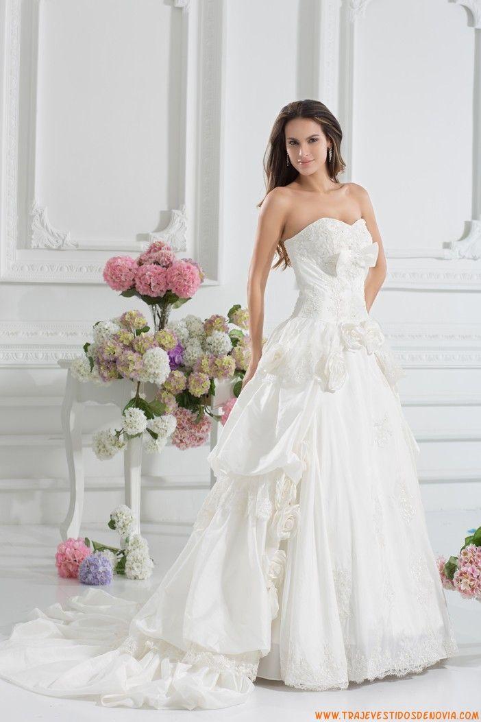 Tafetan Vestidos De Novias De Princesas Con Flores