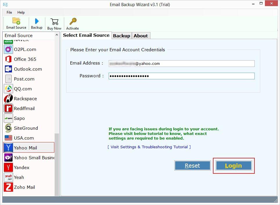 Get Yahoo backup wizard to backup Yahoo Mails to hard drive