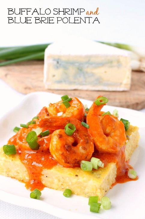 Spicy buffalo shrimp on top of creamy, cheesy polenta squares. #BluesdayTuesday @castello