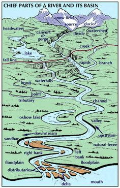 Week ArtSome Features Of A River And Its Basin Such As - Geography rivers