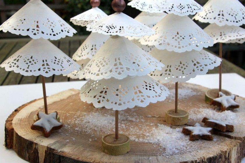kleine tannenb umchen aus tortenspitze tortenspitze weihnachtsdekoration und weihnachtsideen