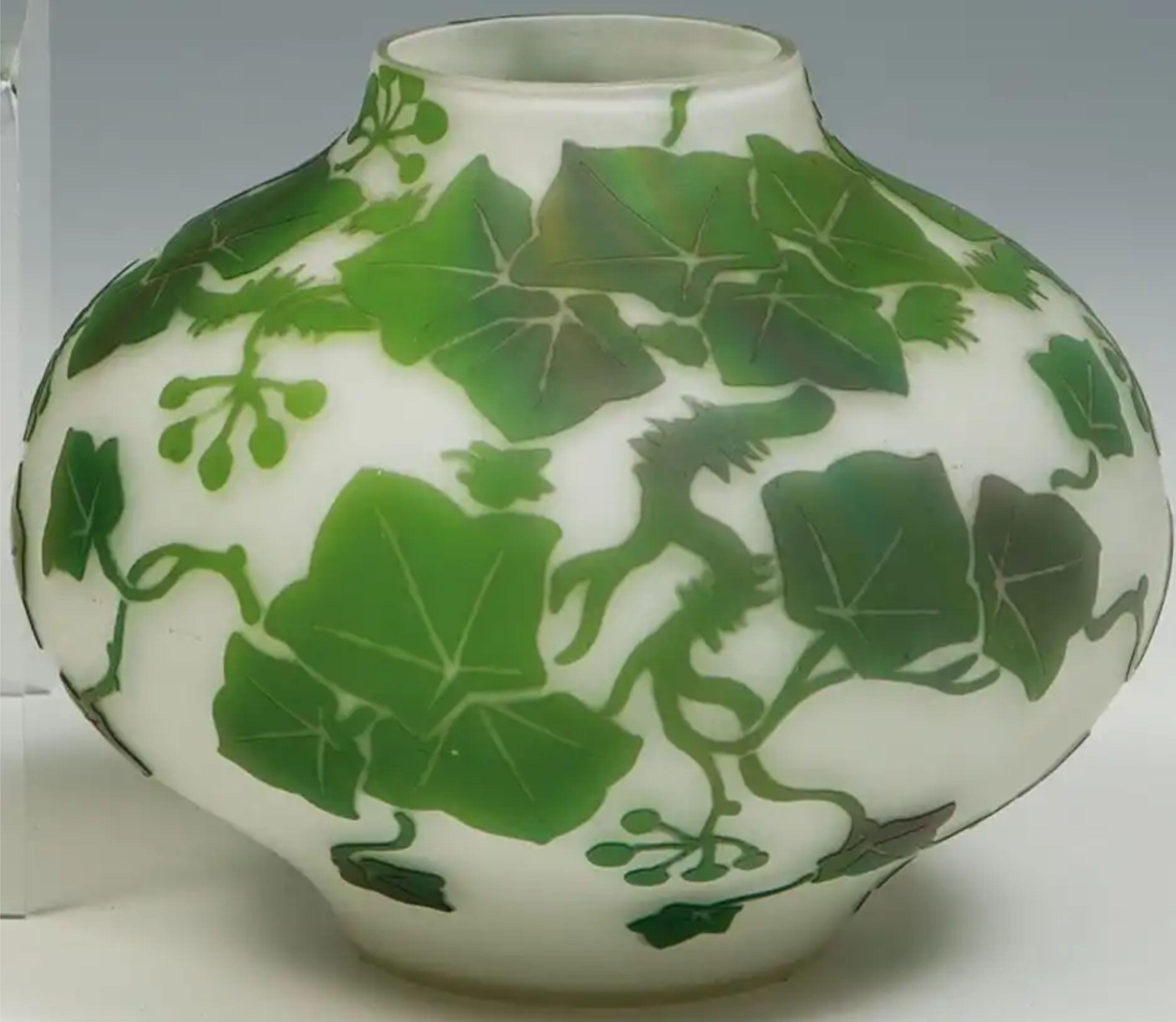 Vase Mit Efeu Beckmann Weis Mügeln Bei Dresden Um 1920 Farbloses Gla