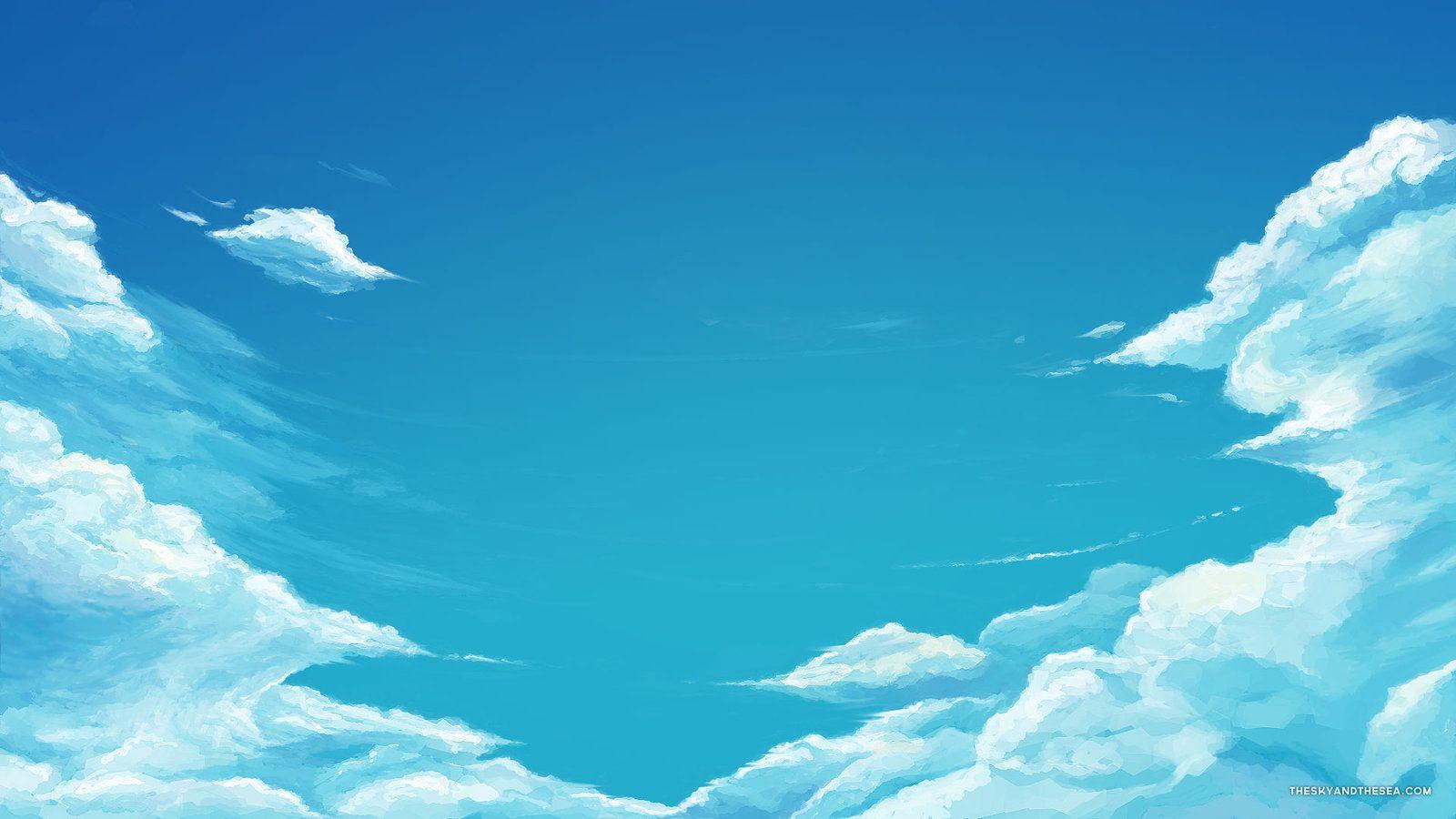 Pin By Sofia Li On Others Sky Anime Sky Aesthetic Blue Sky Wallpaper