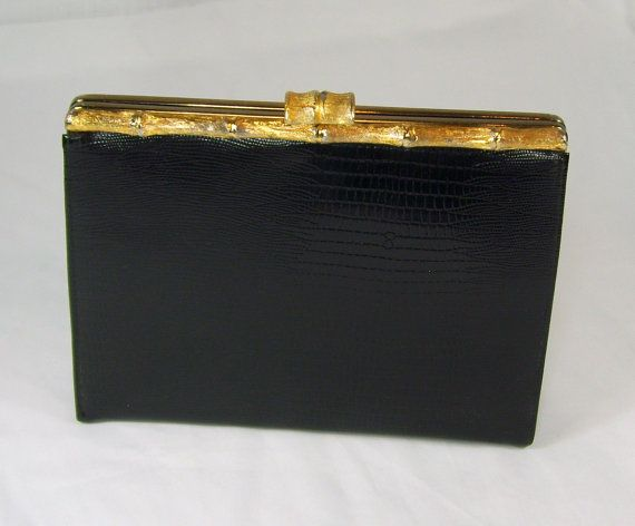 Vintage After Five Clutch Purse Black Faux Patent Leather Reptile Texture Side Hand Strap Bamboo Gold Clasp