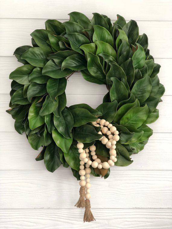 Photo of Magnolia Wreath with Natural Bead Garland, Magnolia Leaf Wreath, Farmhouse Wreath