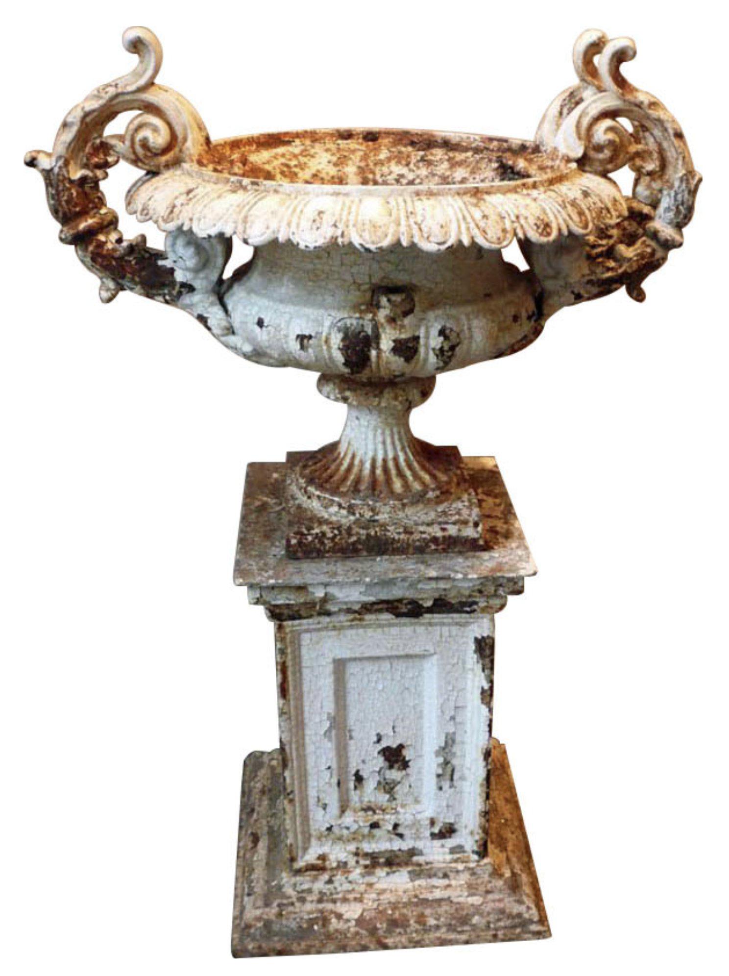 19th Century Vintage Double Handle Cast Iron Urn Urn Cast Iron Iron