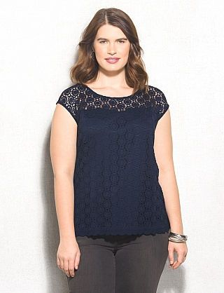 8b5ee18b15e7ed roz & ALI™ Plus Size Geometric Lace Top | Style Inspiration | Lace ...