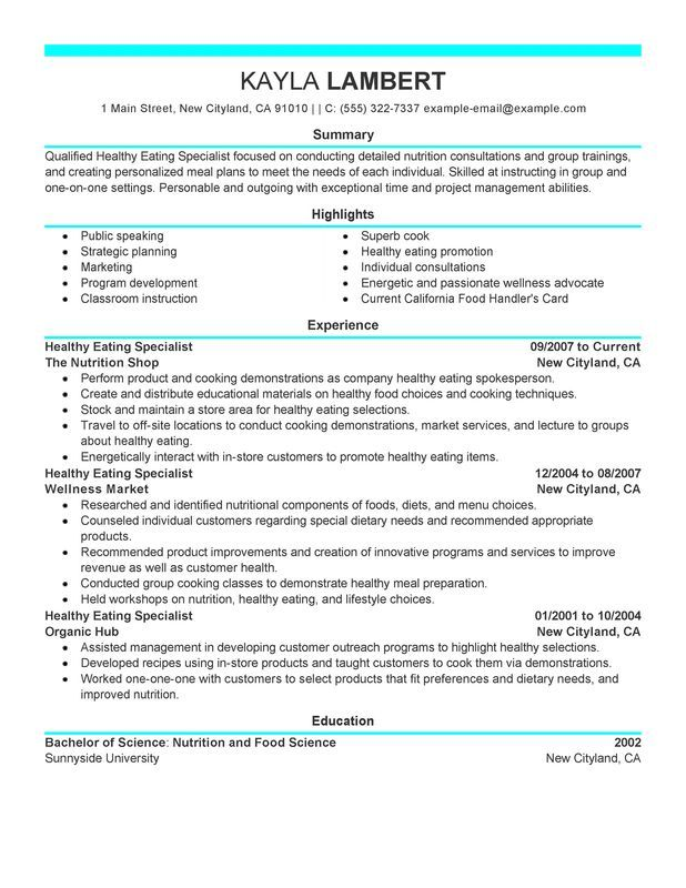 Food Specialist Resume Sample
