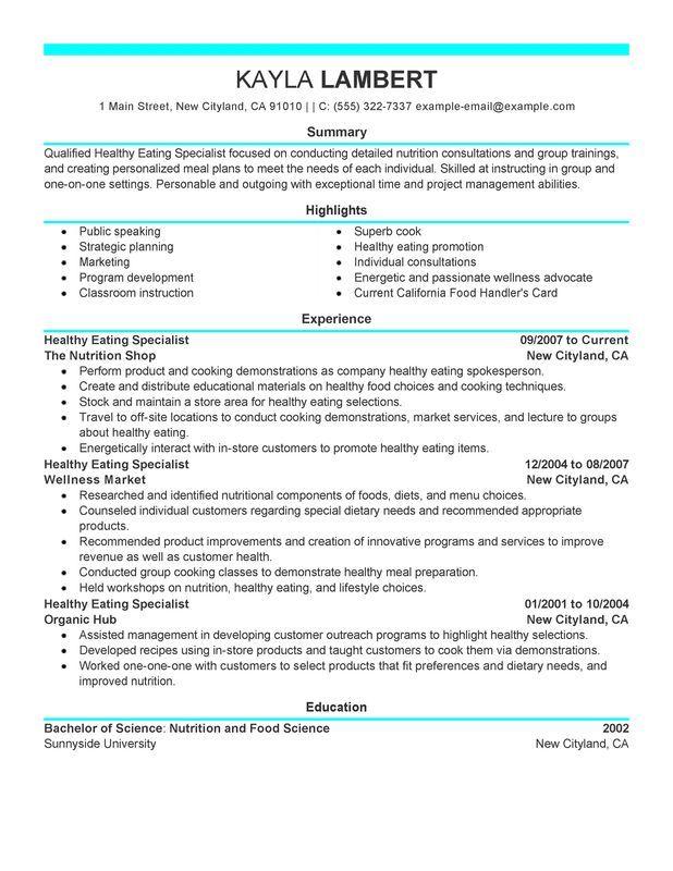 Food Specialist Resume Sample Planning resources Pinterest - resume for promotion
