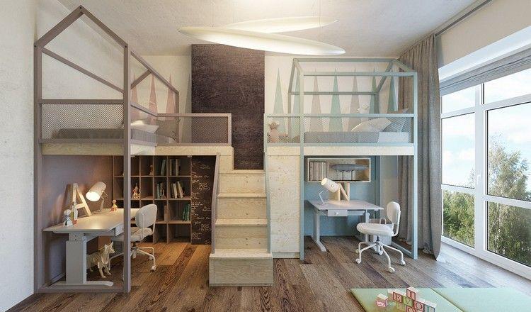 Elegant Geschwister Kinderzimmer Design mit Haus Hochbetten