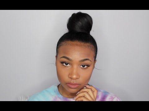 Sleek Top Knot Bun On Natural Hair Edges 2019 Natural Hair Bun Styles Natural Hair Styles Top Knot Bun