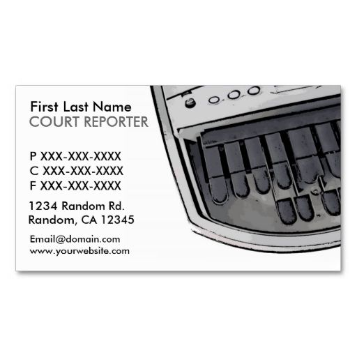Simple white black court reporter business cards. I love this design! It is available for customization or ready to buy as is. All you need is to add your business info to this template then place the order. It will ship within 24 hours. Just click the image to make your own!