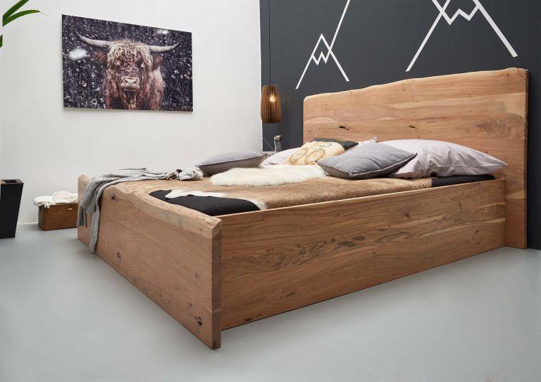 Bett Akazie 180x200x105 Natur Lackiert Live Edge 303 In 2020 Bett Modern Massivholzbett Und Bett