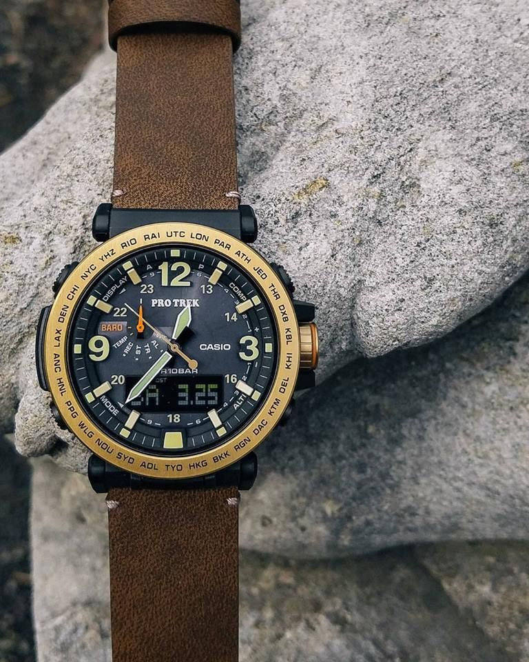7a4fa88bfe2 ProTrek PRG-600YL with brown leather band Casio Protrek