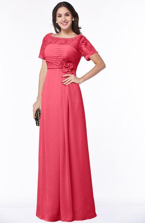 fd830cd128eb Traditional Short Sleeve Zip up Chiffon Floor Length Flower Bridesmaid  Dresses