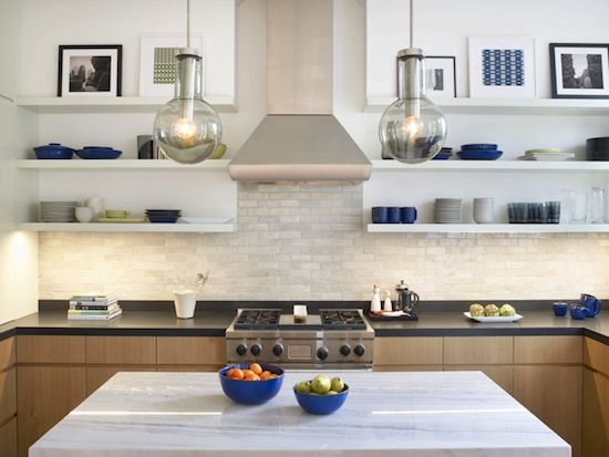Wolf professional chimney hood over a wolf range love the - Modern kitchen shelving ...