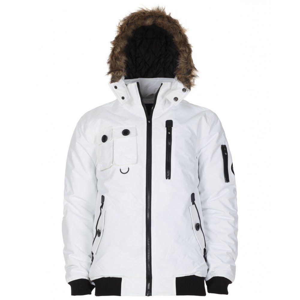 Twisted Soul Mens White Expedition Hooded Short Parka | Wrap Up ...