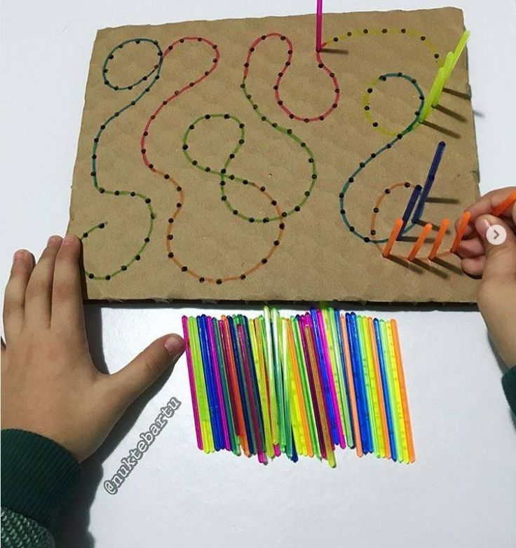 prepare toddler for handwriting activities. You make holes and then kids have to... - Easy Pin