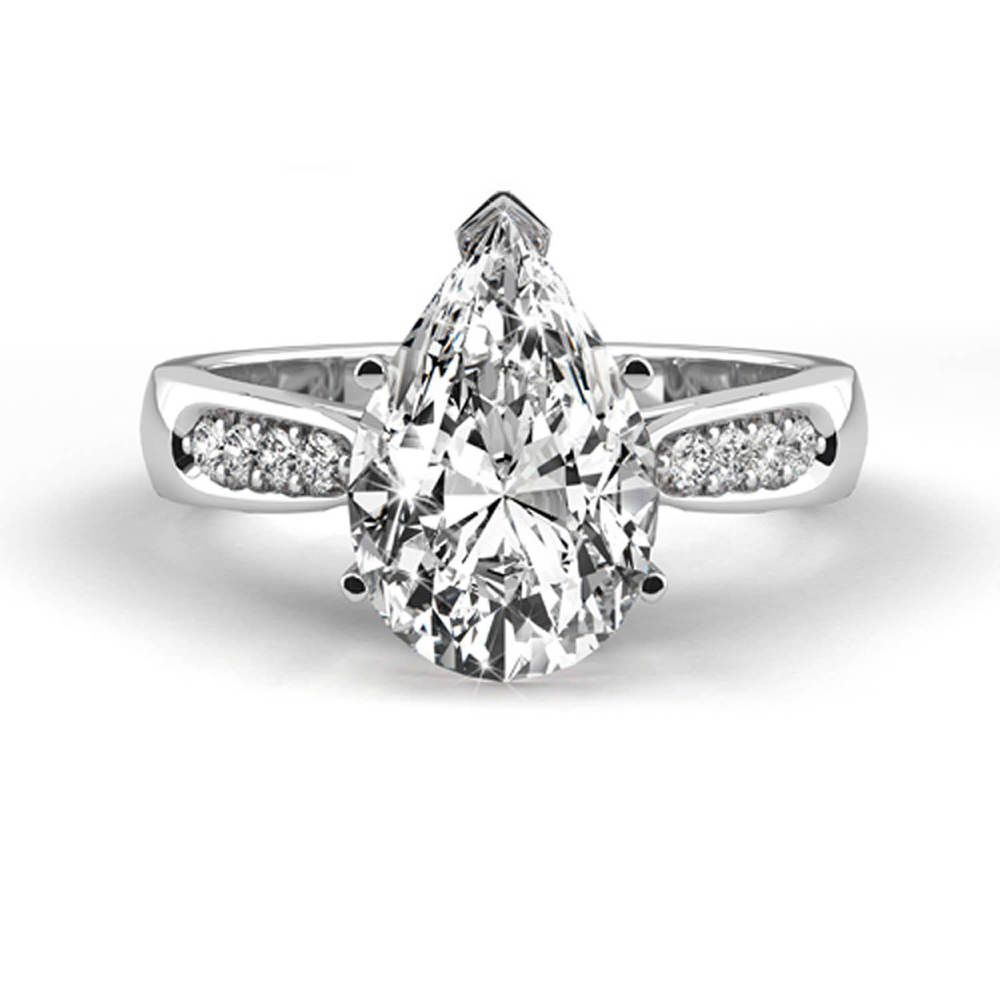 Gsi diamond engagement ring carat pear shaped k white gold