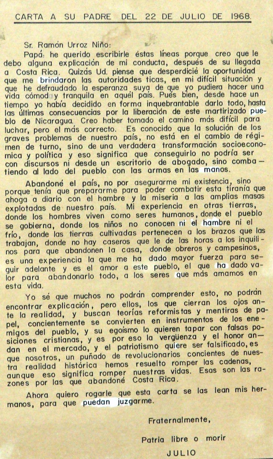 Carta de Julio Buitrago a su padre