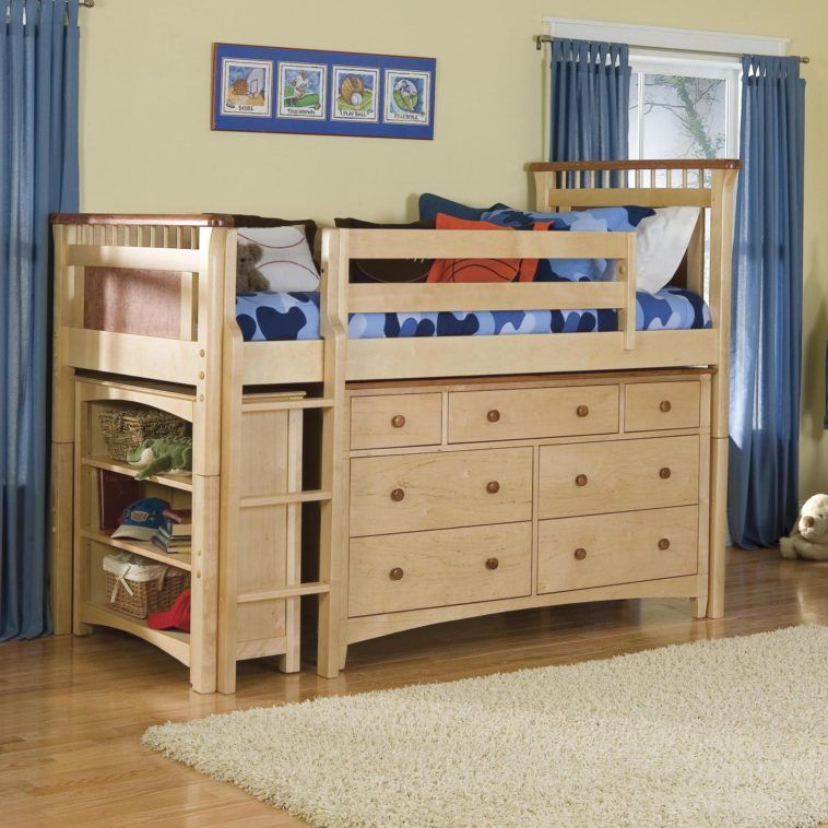Cream Wooden Bunk Bed With Storage And Shelves Underneath Having