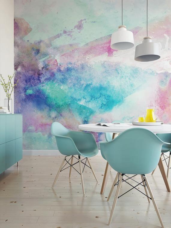 Coole Töne Aquarell Wandbild / künstlerische Schale und Stick Tapete Wandbild / abstrakte temporäre Tapete 522