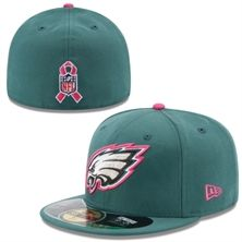 New Era Philadelphia Eagles Midnight Green 2014 Breast Cancer Awareness On Field 59FIFTY COOLERA Fitted Hat