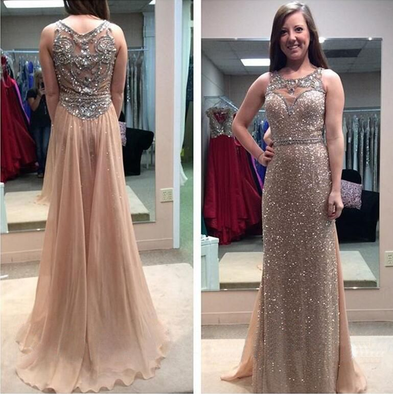 Long Gold Sequins See Through A-line Prom Party