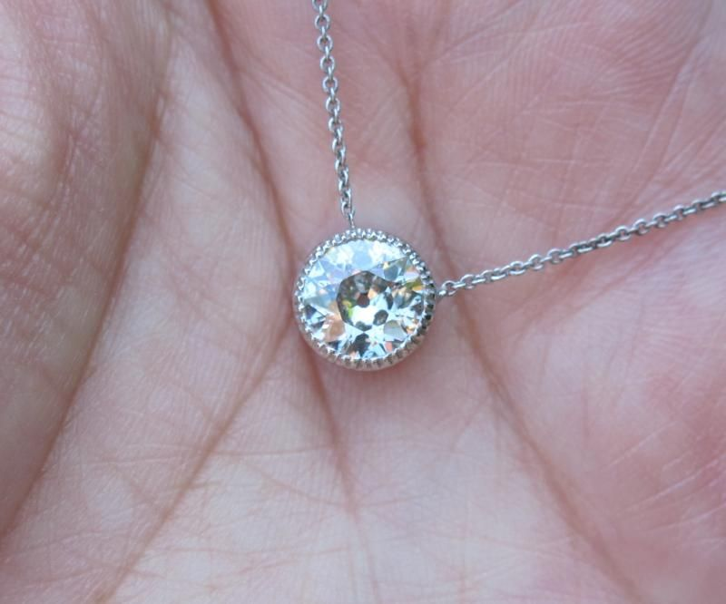 Avoid wasting time and money on poor jewelry decisions diamond classic and timeless bezel set diamond necklace with a old european cut diamond the bezel is thin and delicate with milgrain mozeypictures Image collections