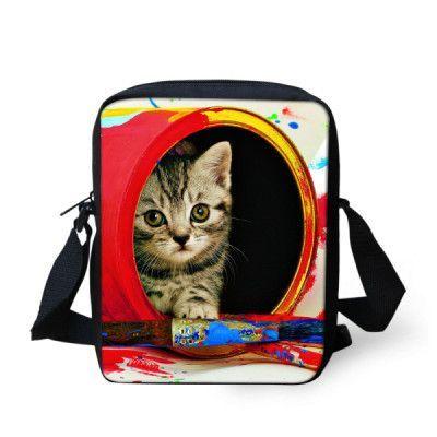 695473cefad3 FORUDESIGNS Cute Cat Messenger Bags for Women Kawaii Zoo Printing Kids Crossbody  Bags Children Mini Shoulder