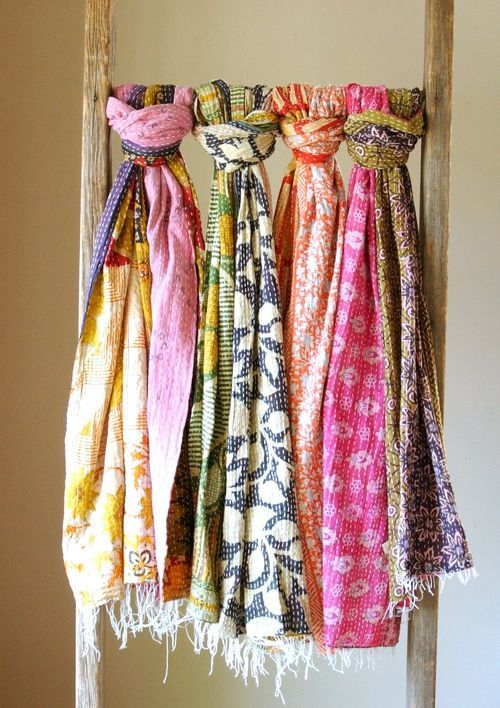 Scarves in fun colors and patterns, light and bright.