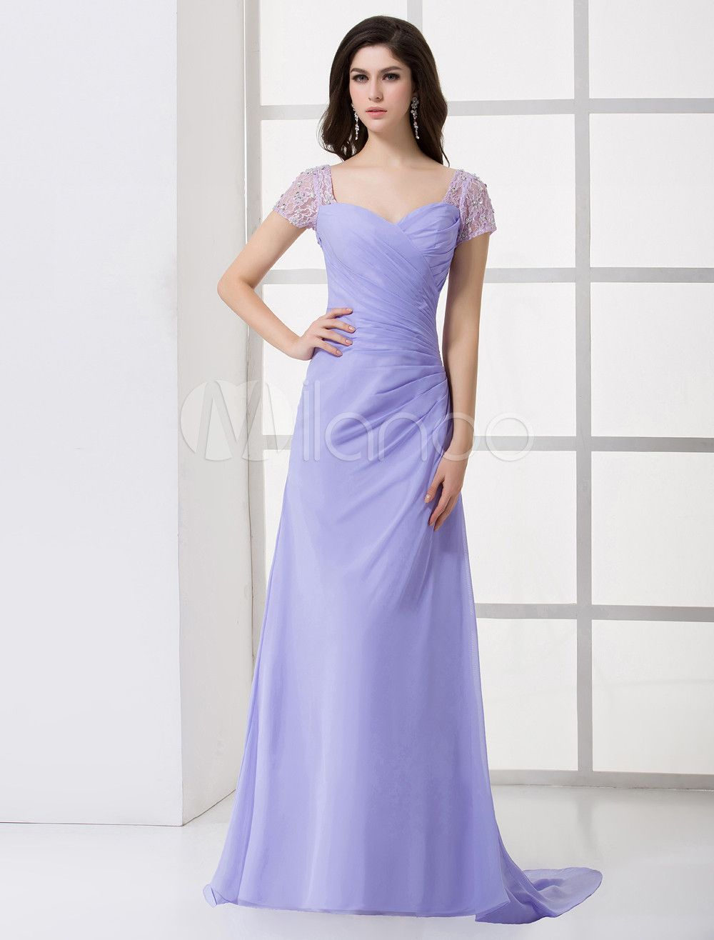 Milanoo ltd evening dresses glamorous lavender chiffon