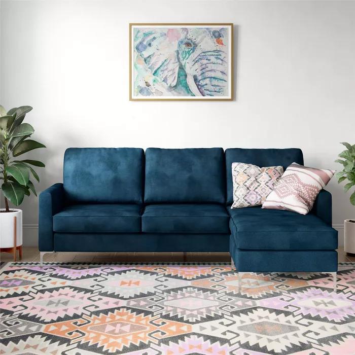 Chapman Velvet Sectional Sofa With Chrome Legs Blue Novogratz Target Sectional Sofa Couch Small Sectional Sofa Sectional Sofa