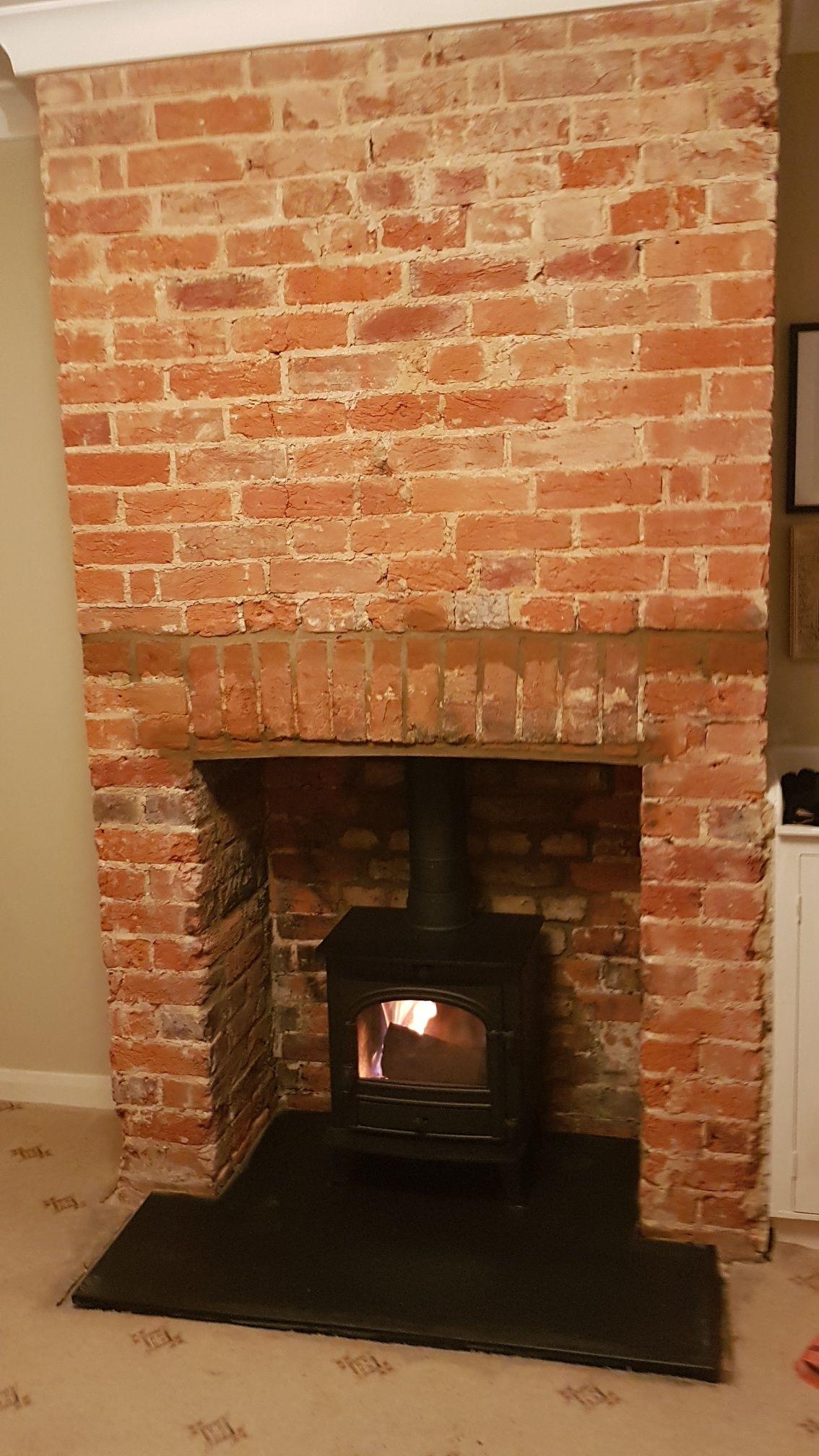 brick chimney breast with a parkray consort 5 on a black riven slate rh pinterest com