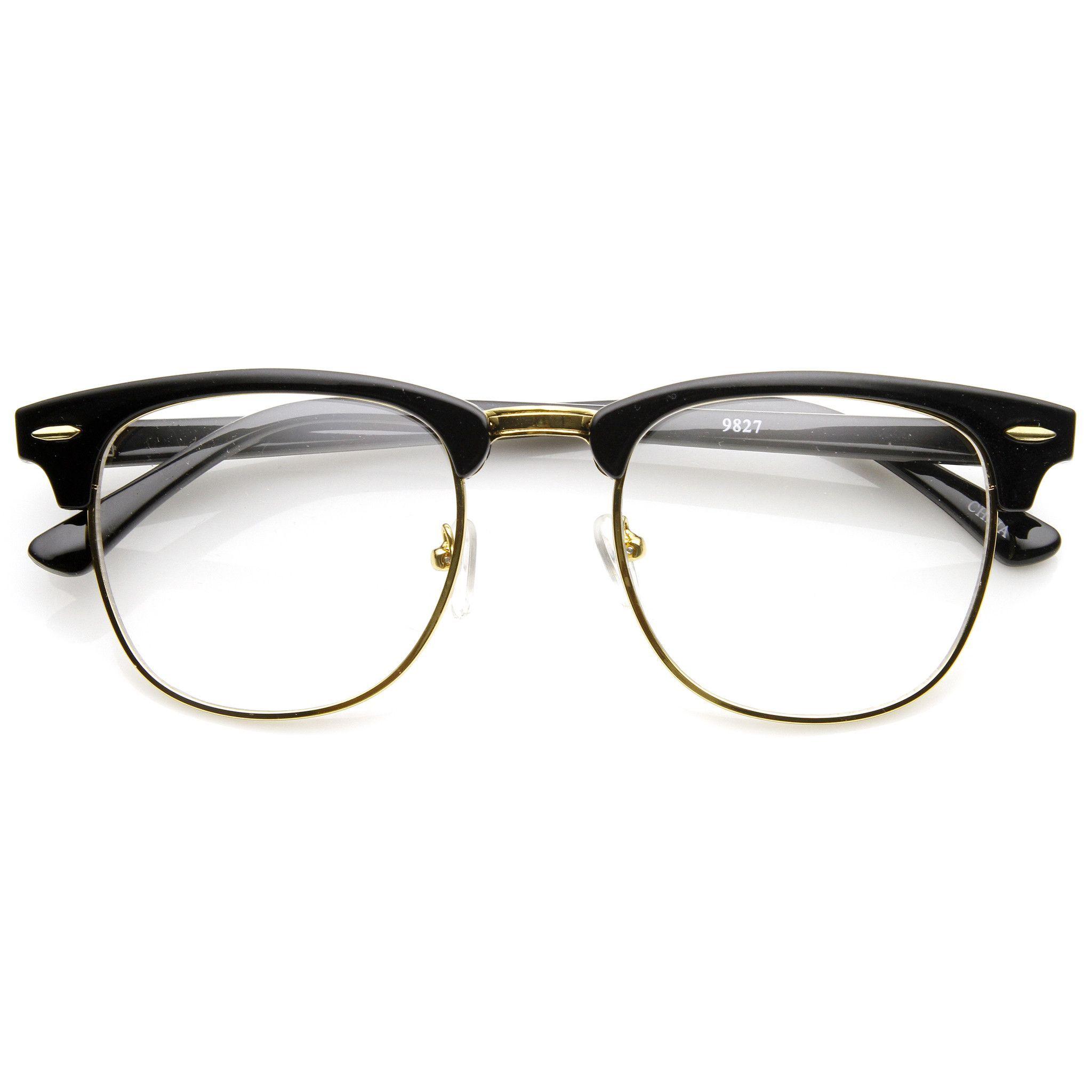 Dapper Clear Lens Wayfarer Vintage Glasses Half Frame Clubmaster 80knwOP