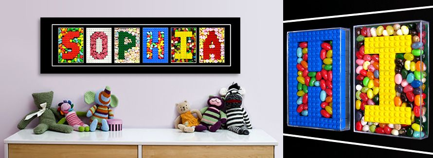 Nice Letter Sweet | Letter Wall Art Sculpture Made With Real LEGO And Candy