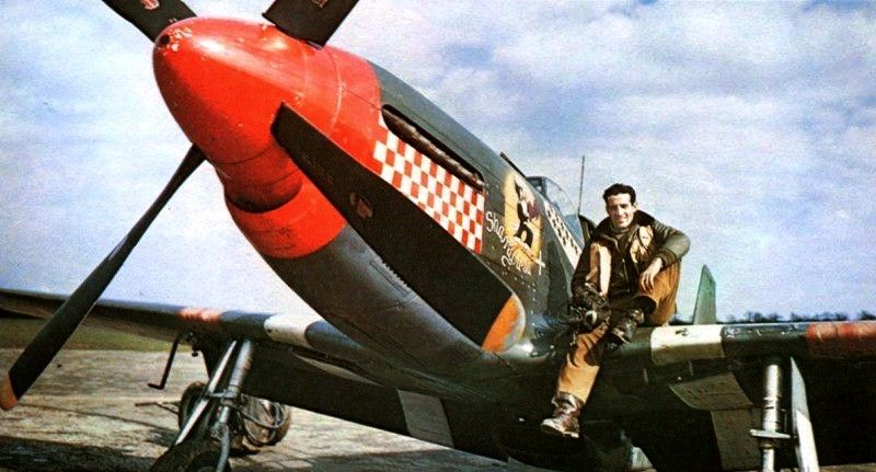 "USAAF Capt Don Gentile sits on the wing of his P-51B Mustang ""Shangri-La"" of the 336th Fighter Squadron at RAF Debden, Essex, England, UK; 1944-45. Photo 1 of 2."