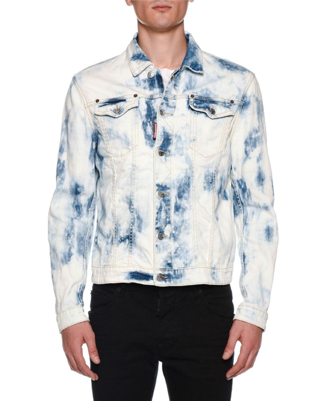 Dsquared2 Men S Dan Bleach Wash Jean Jacket Washed Jean Jacket Casual Jacket Denim Fashion [ 1500 x 1200 Pixel ]