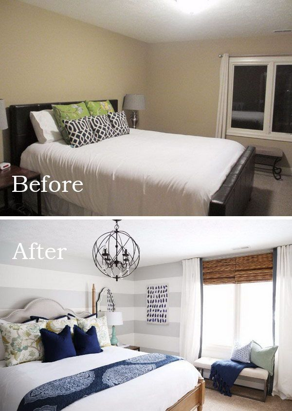 Use Large Gray Horizontal Stripes To Visually Elongate The Wall Remodel Bedroom Guest Bedroom Makeover Small Master Bedroom