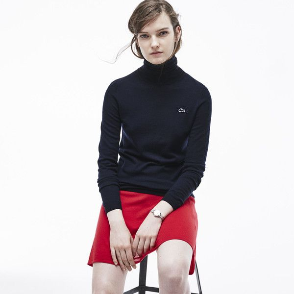 Lacoste Women's Classic Wool Turtleneck Sweater ($93) ❤ liked on ...