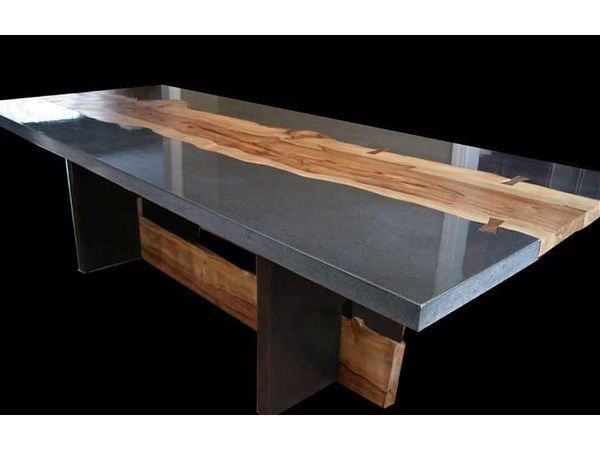 What A Beautiful Combination Of Resin And Wood Concrete Table Top Slab Dining