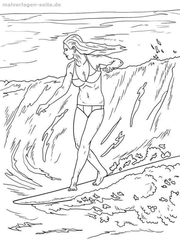 Malvorlage Surfen Welle Sport Ausmalen Ausmalbilder Malvorlagen