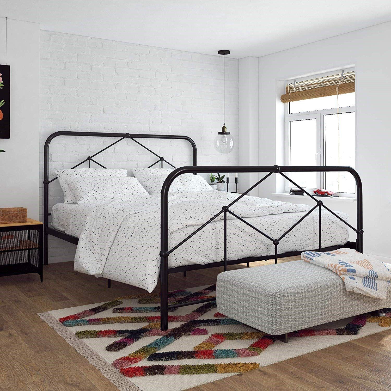 Bed Frame Headboard Chic Modern Luxury Farmhouse Bohemian Vintage Contemporary Elegant Cozy Bedroom Bed Frame Black Metal Bed Frame